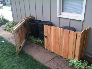 DIY trash can storage